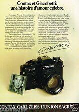 Publicité advertising 1983 Appareil photo Contax Carl Zeiss Giacobetti
