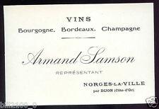carton publicitaire ancien . Norges-la-Ville  par Dijon . Armand Samson .vins