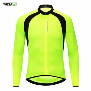 Mens Long Sleeve Cycling Jerseys Breathable Bike Bicycle Tops Sports Shirt S-XXL
