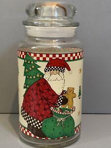 Debbie Mumm SANTA Clear Glass Jar Canister w/ Lid & Seal Anchor Hocking-1997