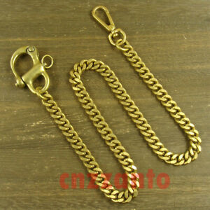 Heavy duty Solid brass shackle + flattened curb Pants Fob Wallet Chain H386