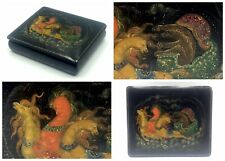 Hand painted USSR PALEKH lacquer box 1950 russian signed art TROYKA fairy tale