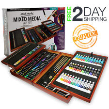 Deluxe Art Set Art Supplies Painting Drawing 174 Pcs Kit Wood Box Paints Brushes