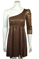 New Gold Foil Bandage One Shoulder Bodycon Dress Ladies Womens Size 8 10 12 14