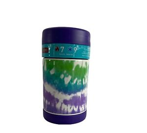 Thermos 16 oz Food Jar Insulated FUNtainer w/Folding Spoon Hot/Cold NEW Tie-Dye