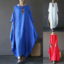 Plus Size Women Summer oose Casual Long Maxi Beach Dress Kaftan Long Tops Party
