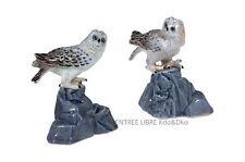 2 Miniatures en porcelaine _ CHOUETTES PERCHÉES 6cm _ Objet de vitrine Collectio