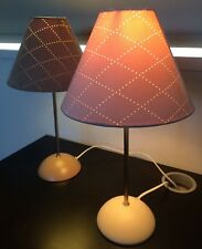 Pair Of Mid Century Modern Style Table Lamps Beige Brown Suede Effect Shades