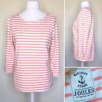 Joules Women Top 16 Mariners Harbour Coral Pink Orange Stripe 3/4 Sleeve Jersey