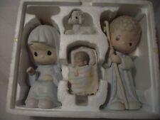 "Precious Moments ""Oh Come Let Us Adore Him"" 4-piece 1987 Nativity Set Figures"