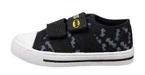 Boys DC Batman Hook & Loop Low Top Casual Trainers Shoes Black UK Child 10-1