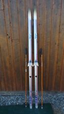 """GREAT Ready to Use Cross Country 77"""" TITAN 200 cm Skis WAXLESS Base + Poles"""