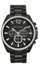 Wittnauer Men's Quartz Chronograph Black Dial Crystal Accents 44mm Watch WN3028