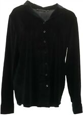 Brooke Shields atemporal Terciopelo Botón Frontal Camisa negro M nuevo A344717