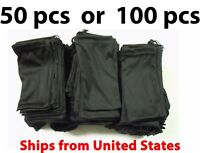 50 or 100 Black Micro Fiber Sunglasses Carrying Pouch Soft Case Glasses Bag USA
