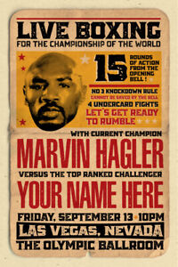 YOUR NAME on a Boxing champ poster vs Marvin Hagler - personalized & cool