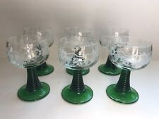 Green Stem German France Cordial Apertif Glasses Set Of 6  Vintage-STUNNING