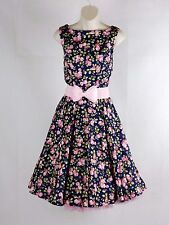 NEW Vintage 50's Rockabilly Style Floral Swing Circle Dress Size XS 6 - 8