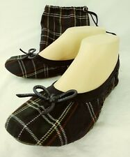 Penny Loves Kenny Wos Shoes Caddie US 7.5 Green Plaid Ballet Flats Bow  228