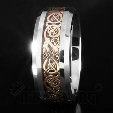 8MM Gold Silver Celtic Dragon Tungsten Carbide Carbon Fiber Wedding Band Ring