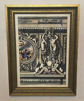 Vintage Gold Framed French P. Mariette Colored Engraving Print - 13 x 17""