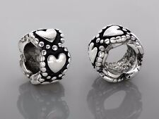 2PCs Heart European Beads / Silver Heart Charms / Fits European Charm Bracelet