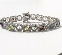 """Mixed Natural Gemstone Tennis Bracelet Rhodium Plated Sterling Size 7.25"""" QVC"""