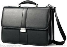 Samsonite Leather Flap Over Briefcase Business Case Messenger Laptop Bag