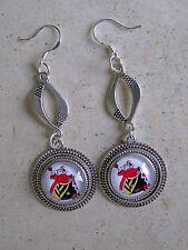 """SP 2.25"""" ALICE IN WONDERLAND RED QUEEN Cartoon Earrings w/.925 hooks"""