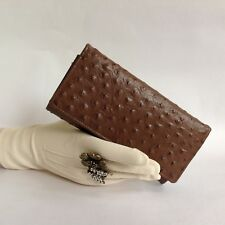 Facchino Ostrich Embossed Calf Leather 1990s Vintage Wallet Purse Fabric Lining