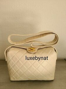 Chanel vintage bag beige lamb leather with gold hardware