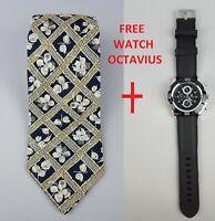 Kenzo Homme Rare Design Tie Silk - Floral Print - Italy - Free Watch Octavius