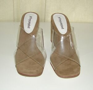 NIB Jeffrey Campbell size 8 mystical clear two-strap natural suede wedge sandals