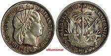Haiti Silver 1882 A 20 Centimes Monnaie de Paris XF Condition KM# 45