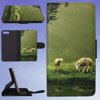 WOMAN AND SHEEP FLIP WALLET CASE FOR APPLE IPHONE PHONES