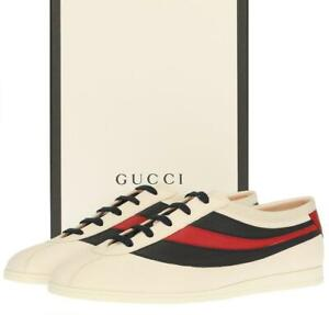 NEW GUCCI IVORY LEATHER WEB TRAINERS SNEAKERS SHOES 8 G/US 8.5
