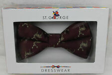 St.George Dressware Designer Papillon Rosso Scuro con Hirschen 401040 Nuovo A