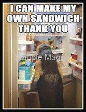 """GERMAN SHEPHERD Making a Sandwich Fridge Magnet 4"""" x 3"""""""