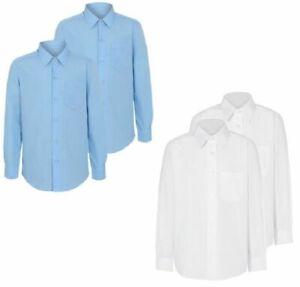 BOYS SCHOOL SHIRTS 2 PACK LONG SLEEVE PolyCotton UK STORE UNIFORM 11-17 Collar