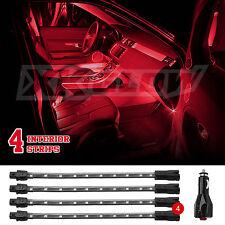 RED LED 4pcs Car Interior Low Profile Cabin Light Kit Slim Tube+EZ Mount+3mode