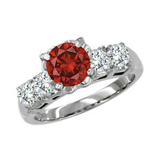 0.7 Carat Red SI2 Round Diamond Solitaire Ring 14K WG Valentineday Spl.Sale