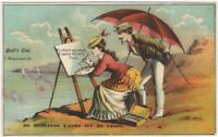Attractive Victorian Woman Artist a Seaside Easel Scene Trade Card