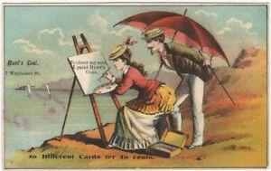 Pretty Woman Painter Artist a Seaside Easel Scene Victorian Trade Card