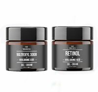 2 Pack Matrixyl 3000 & Retinol + Hyaluronic Acid Gel Cream Peptide Wrinkle Serum