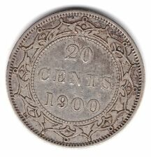 1900 Newfoundland Canada 20 Cents .925 Silver Coin A65