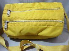 Co-Lab Yellow Nylon Crossbody Purse Multi-Pocket Metal Zippers Adjustable Strap