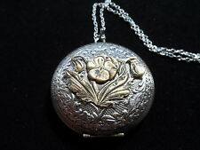 ANTIQUE SILVER PANSY LOCKET  LARGE