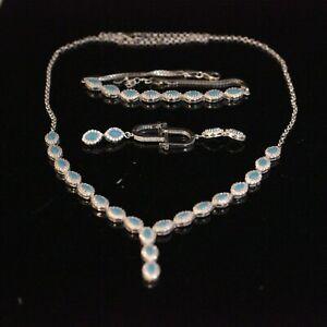 925 Sterling Silver Handmade Turquoise Turkish Earring,Bracelet,Pendant Set