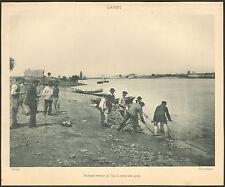 44 BASSE-INDRE ?? PECHE AU GARNI SENNE EN LOIRE IMAGE 1900 OLD PRINT
