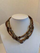 Necklace brown amber tones multi shape natural beads Multiple strands goldtone